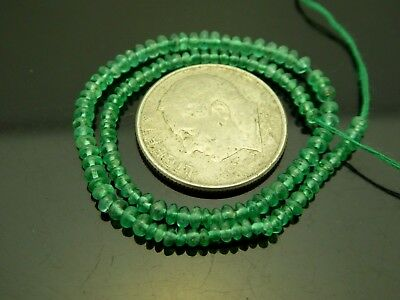 "Natural Colombian Emerald Tiny Smooth Rondelle 2mm Gemstone Beads 6"" Strand"