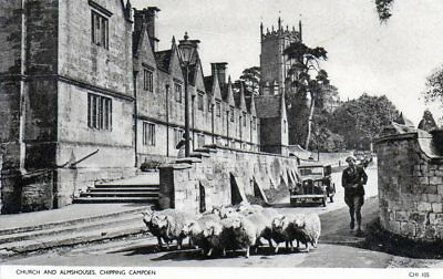 Chipping Campden. Church and almshouses. (Sheeps on the picture).