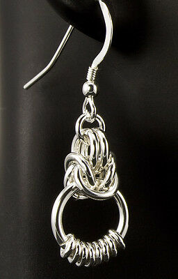 Eightine Chain Maille Earrings .925 Sterling Silver Designer Created Chainmail