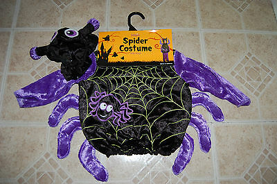 Nwt Infant Spider Costume With Hood 6-12 Months Black Purple