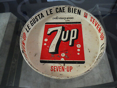 ORIGINAL 7 UP  METAL ADVERTISING, SIGN ,  SERVING TRAY, 50s - 60s  Mexico