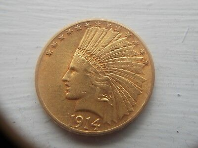 1914 Ten Dollar Indian Head Gold  Nice Original Coin