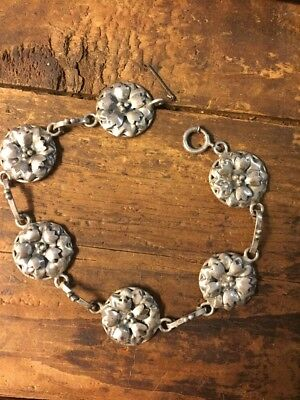 """VTG Sterling Silver Repousse Flower Puffy Panel Link Bracelet Unique Jewelry 8"""""""