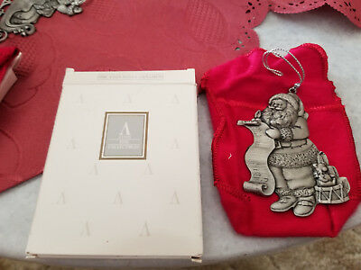 Avon Pewter Christmas ornament 1996, with box and velvet pouch