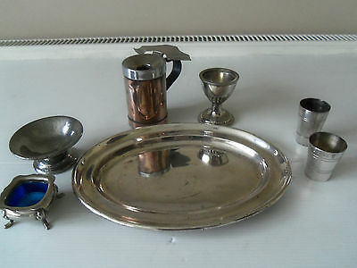 Job Lot Of Vintage Silver-Plated Items-Tray/eggcup/ashtray/mustard Pot,etc.