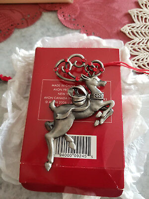 Avon Pewter Christmas Ornament 2006 REINDEER With Box