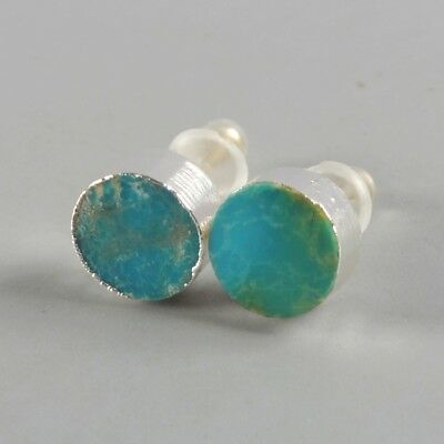 8mm Round Natural Genuine Turquoise Stud Earrings Silver Plated B076254
