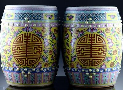 Large Pair 19Thc Chinese Guangxu Famille Rose Imperial Yellow Garden Seat Vases