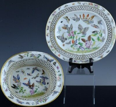 Exceptional 18Thc Chinese Famille Rose Pierced Basket Bowl Tray Qianlong Period