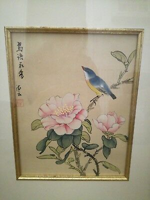 2x Chinese silk pictures framed