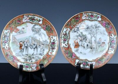 PAIR SUPERBc1800 CHINESE JIAQING FAMILLE ROSE & GRISAILLE ENAMEL FIGURAL PLATES