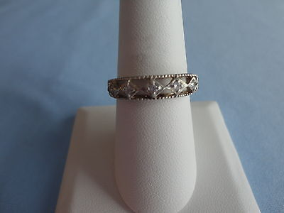 Vintage Silver 925 Open Detailed Avon CZ Cocktail Band 2.9 grams Size 9 Neat