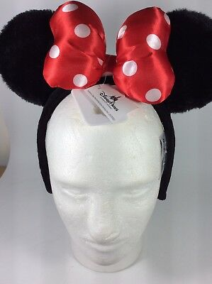 Disney Parks Minnie Mouse Plush Ear Headband w/Red Polka Dot Bow Youth OSFM