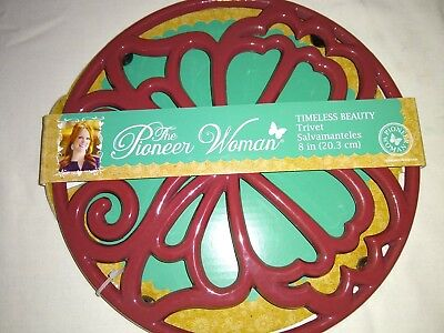 """The Pioneer Woman Cast Iron 8"""" Timeless Beauty Trivet Claret Red"""