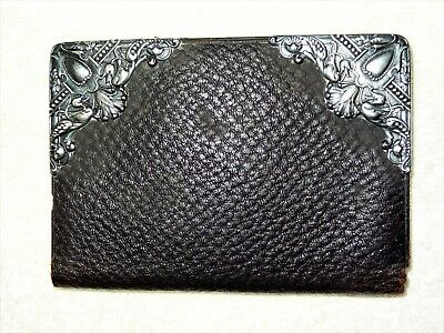 ~RARE~ ANTIQUE GORHAM REPOUSSE Sterling Silver & Leather WALLET BILLFOLD c1888