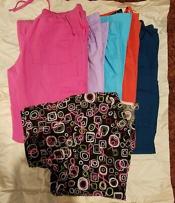 WOMENS: SCRUBS Sz XS, 6 TOTAL (5 BOTTOMS, 1 TOP), breast cancer top, solid pants