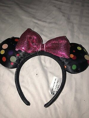 NEW Disney Parks Mickey Minnie Mouse Pink  Sequin Bow Polka Dot Ears Headband