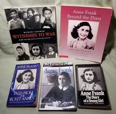 Anne Frank Diary & Other Books Witnesses to War Nazi Persecution Youth BOOK LOT