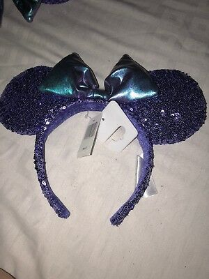 Disney Parks Disneyland Purple Potion Purple Sequins Minnie Ears Headband BNWT