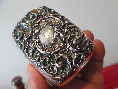 1906 Very Ornate -WHITING - STERLING Silver - TRAVEL SOAP BOX - REPOUSSE pattern