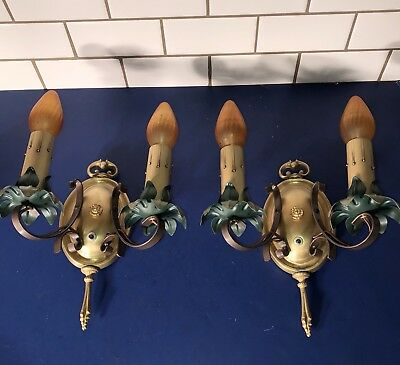 Wired Pair Antique Two Arm Wall Sconce Fixtures Moe Bridges 34E