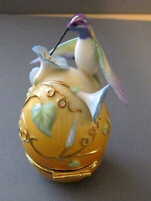 House Of Faberge Blue Throated Hummingbird Floral Trinket Box
