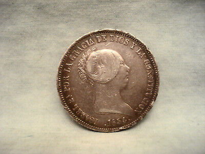 1854 Spain 20 Reales  Isabel II Coin