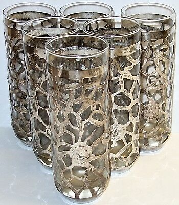 """SET of (6) VINTAGE Mexico STERLING OVERLAY 7-1/4"""" GLASS TUMBLERS~190G SILVER!"""