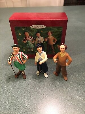2000 Hallmark Ornament The Three Stooges ~ Larry, Moe and Curly (set of 3) Golf