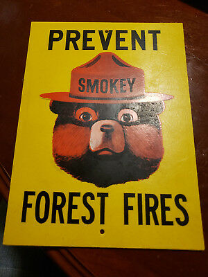 "Vintage Smokey The Bear Prevent Forest Fires  Fiberglass Sign 7"" x 9.5"""