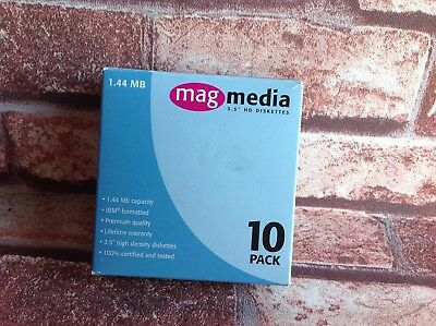 "MAG MEDIA 3.5"" BULK FLOPPY DISKS NEVER USED in BOX 1.44 Mb Box of 10 Diskettes"