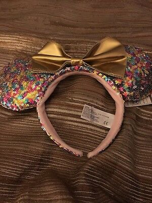 Disney Minnie Mouse Ears Hat Headband Pink Sequin Pastel Multi Color   NEW