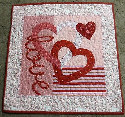 "Hand Made Quilted Wall Hanging~18 1/2"" x 18 1/2"" ~ Valentine ~ Applique"