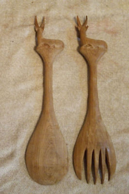 Vintage African, Hand Carved Impala, Large Wood Fork, Spoon