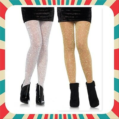 Leg Avenue 7130 opaque Lurex Shimmer tights stocking Gold silver glitter drag