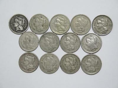 13- 1865 1866 1867 1868 1874 1876 3 Cent Nickel 3Cn U.s Mint Coin Collection Lot