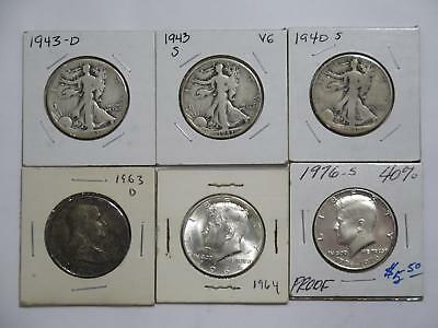 Franklin Kennedy Walking Liberty Type Half Dollars 50 Cents Coin Collection Lot