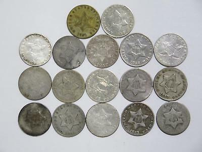 17- 3 Cent Silver 90% Mix Date Low Grade U.s. Mint Rare Type Coin Collection Lot