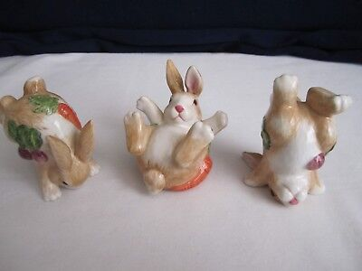 Fitz and Floyd 3 Tumbling Rabbits Figurines