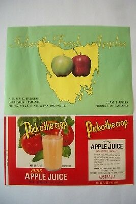 2 Vintage Box Crate Apple Label labels Tin Burgess, Pick-o-The-Crop Tas Victoria