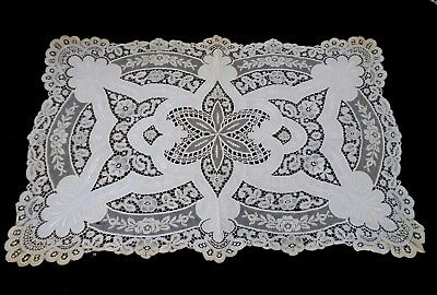 Antique French Lace & hand Embroidery ecru cotton net lace doily c1880's