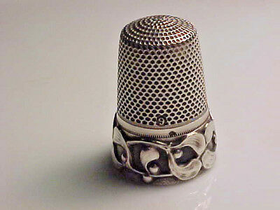Rare Antique French Silver Mistletoe Thimble-Maker Alfred Feau's.size 9