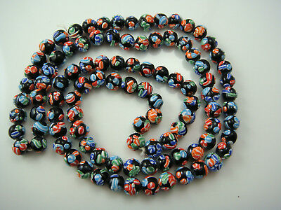 """Vintage Raised Cane Black Millefiori Continuous Crudely Strung 36"""" Old Necklace"""