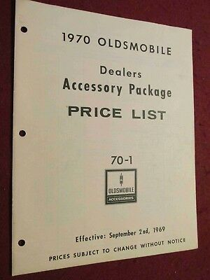 1970 Oldsmobile Accessories Price List; Non-Illustrated but GREAT Research Item