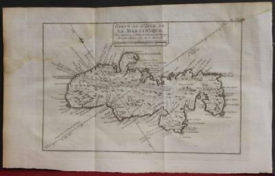 Martinique West Indies 1774 Bellin Unusual Antique Original Copper Engraved Map