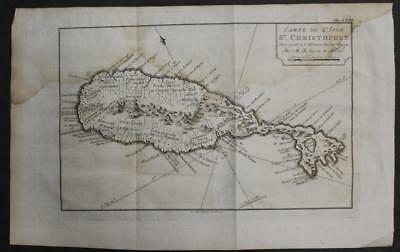 Saint Kitts West Indies 177% Bellin Unusual Antique Original Copperengraved Map