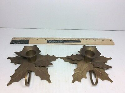 Vintage Pair Of 2 Christmas Holly Leaf Brass Chamber Stick Taper Candle Holders