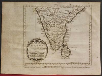Southern India Sri Lanka 1773 Bellin/schley Unusual Antique Copper Engraved Map