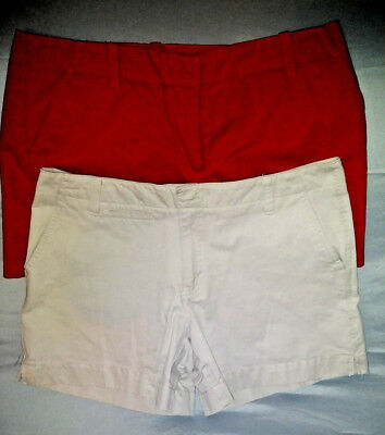J. Crew Old Navy Womens Short Shorts Size 6 Red Khaki Tan Beige Cotton