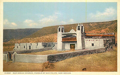 Fred Harvey Postcard Old Indian Church, Pueblo of San Felipe, New Mexico